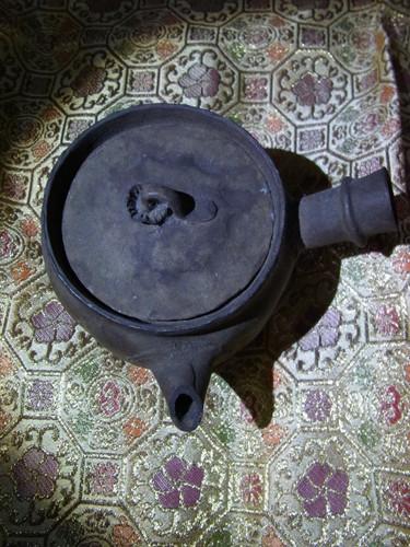 焼締素焼 茸つまみ付急須(煎茶道具湯冷し)